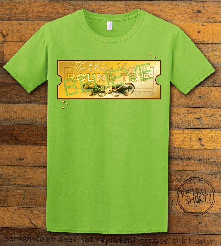 The Polar Express Believe Ticket Graphic T-Shirt - lime shirt design
