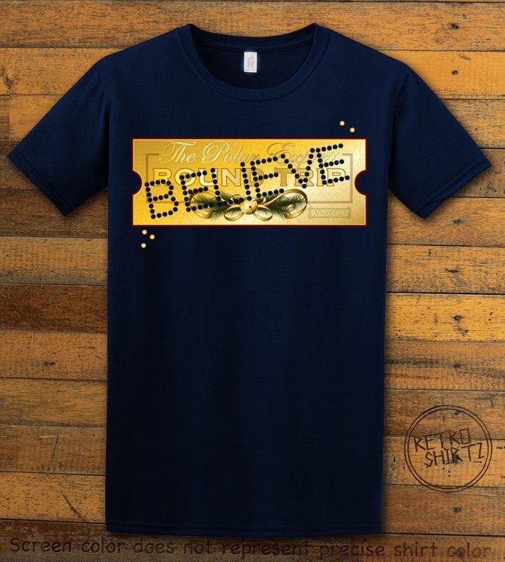 The Polar Express Believe Ticket Graphic T-Shirt - navy shirt design
