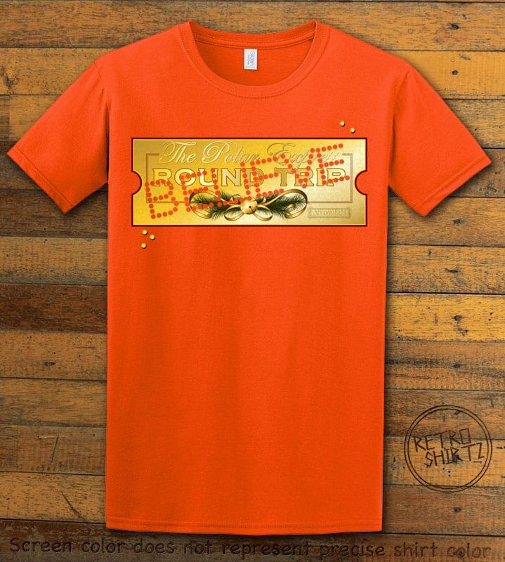 The Polar Express Believe Ticket Graphic T-Shirt - orange shirt design