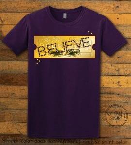 The Polar Express Believe Ticket Graphic T-Shirt - purple shirt design