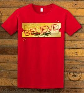 The Polar Express Believe Ticket Graphic T-Shirt - red shirt design