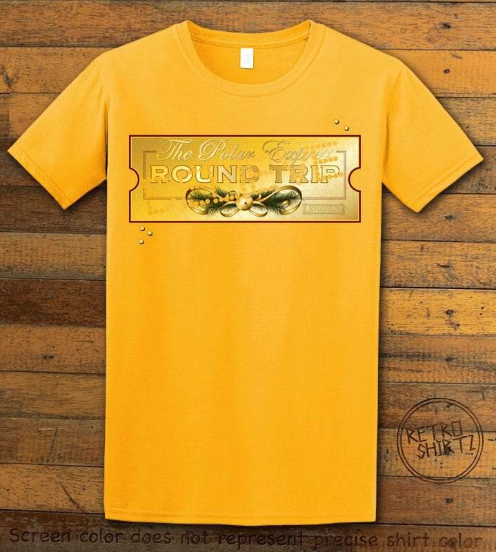 The Polar Express Believe Ticket Graphic T-Shirt - yellow shirt design