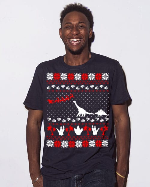 Dinosaur Ugly Christmas Sweater Graphic T-Shirt - navy shirt design on a model