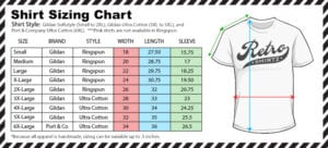 retroshirtz size chart for shirts