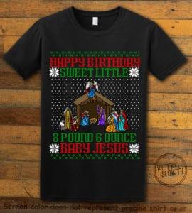 Happy Birthday Sweet Little Baby Jesus Christmas Graphic T-Shirt - black shirt design