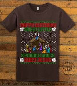 Happy Birthday Sweet Little Baby Jesus Christmas Graphic T-Shirt - brown shirt design