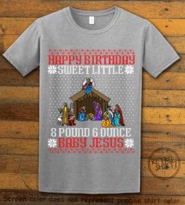 Happy Birthday Sweet Little Baby Jesus Christmas Graphic T-Shirt - grey shirt design