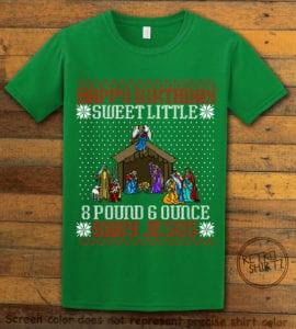 Happy Birthday Sweet Little Baby Jesus Christmas Graphic T-Shirt - green shirt design