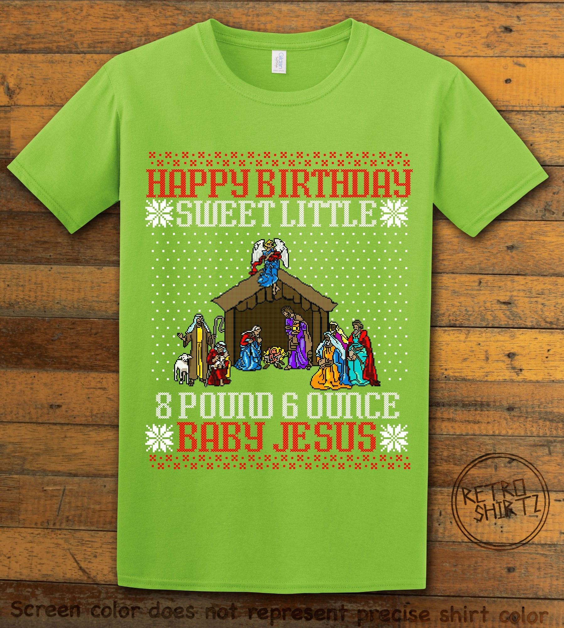 Happy Birthday Sweet Little Baby Jesus Christmas Graphic T-Shirt - lime shirt design