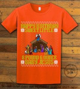 Happy Birthday Sweet Little Baby Jesus Christmas Graphic T-Shirt - orange shirt design