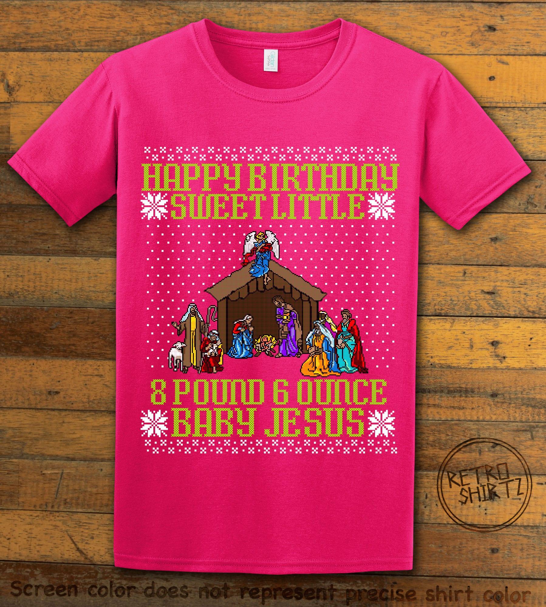 Happy Birthday Sweet Little Baby Jesus Christmas Graphic T-Shirt - pink shirt design
