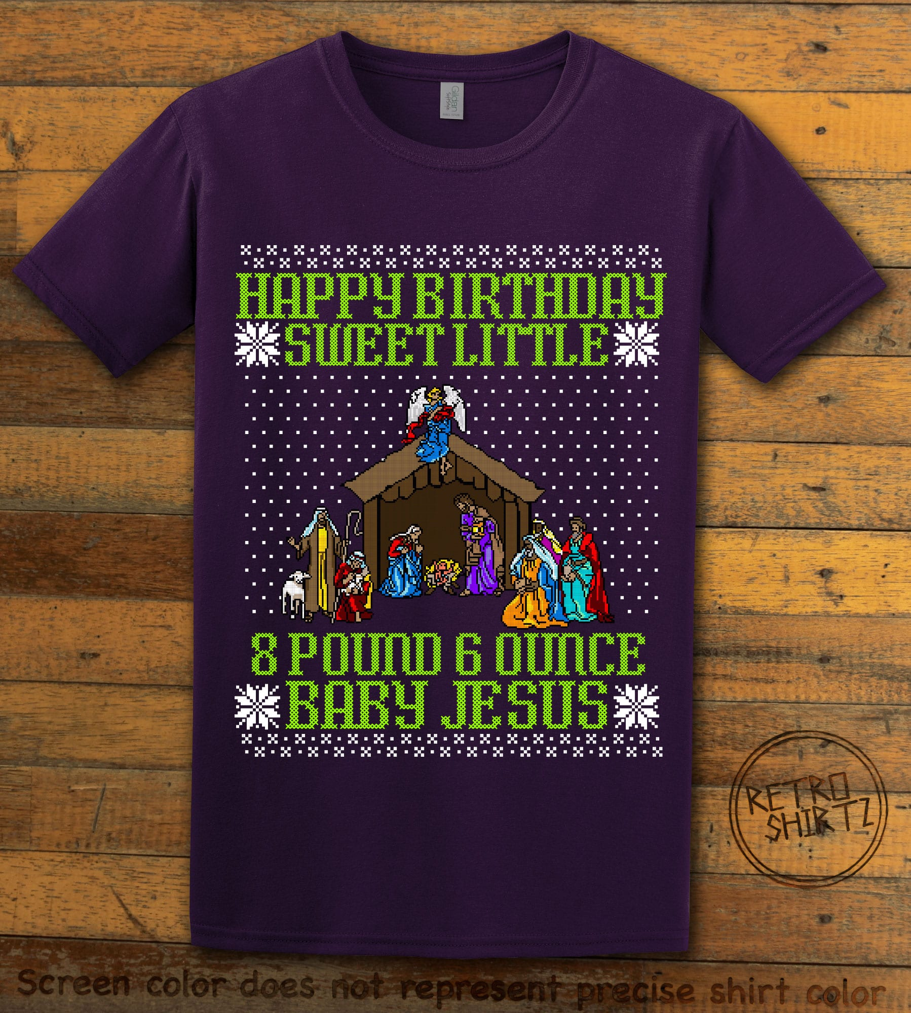 Happy Birthday Sweet Little Baby Jesus Christmas Graphic T-Shirt - purple shirt design
