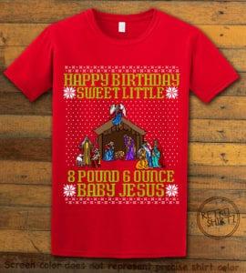 Happy Birthday Sweet Little Baby Jesus Christmas Graphic T-Shirt - red shirt design