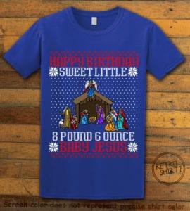 Happy Birthday Sweet Little Baby Jesus Christmas Graphic T-Shirt - royal shirt design