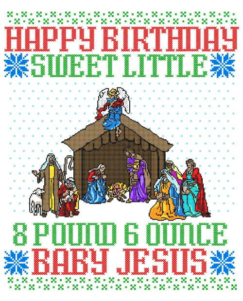 Happy Birthday Sweet Little Baby Jesus Christmas Graphic T-Shirt main vector design