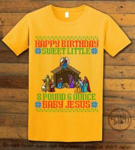 Happy Birthday Sweet Little Baby Jesus Christmas Graphic T-Shirt - yellow shirt design