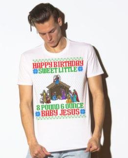 Happy Birthday Sweet Little Baby Jesus Christmas Graphic T-Shirt - white shirt design on a model