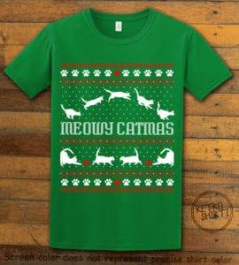 Meowy Christmas Graphic T-Shirt - green shirt design