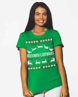 Meowy Christmas Graphic T-Shirt - green shirt design on a model