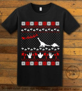 Dinosaur Ugly Christmas Sweater Graphic T-Shirt - black shirt design