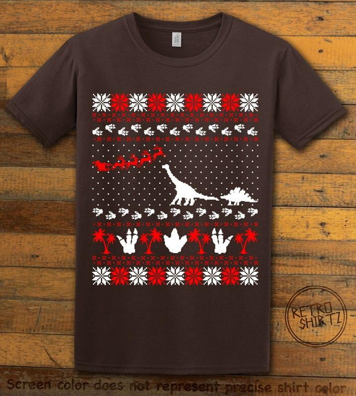 Dinosaur Ugly Christmas Sweater Graphic T-Shirt - brown shirt design