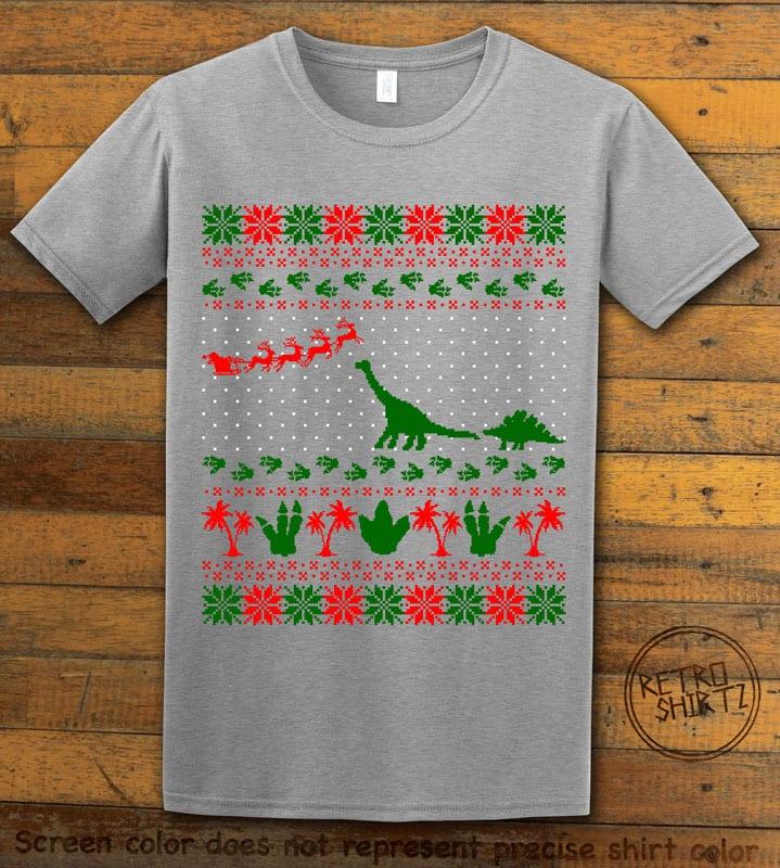 Dinosaur Ugly Christmas Sweater Graphic T-Shirt - grey shirt design