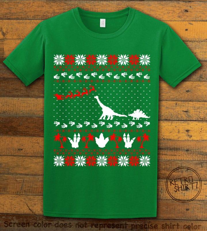 Dinosaur Ugly Christmas Sweater Graphic T-Shirt - green shirt design