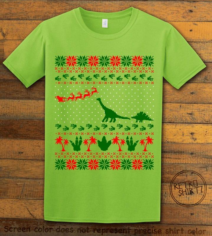 Dinosaur Ugly Christmas Sweater Graphic T-Shirt - lime shirt design