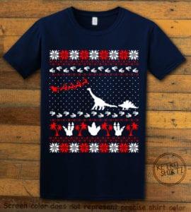 Dinosaur Ugly Christmas Sweater Graphic T-Shirt - navy shirt design