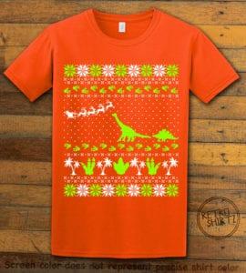Dinosaur Ugly Christmas Sweater Graphic T-Shirt - orange shirt design