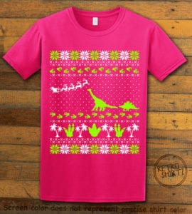 Dinosaur Ugly Christmas Sweater Graphic T-Shirt - pink shirt design