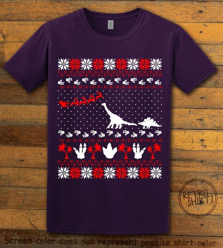Dinosaur Ugly Christmas Sweater Graphic T-Shirt - purple shirt design