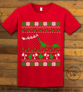 Dinosaur Ugly Christmas Sweater Graphic T-Shirt - red shirt design