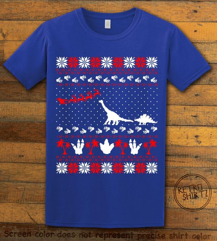 Dinosaur Ugly Christmas Sweater Graphic T-Shirt - royal shirt design