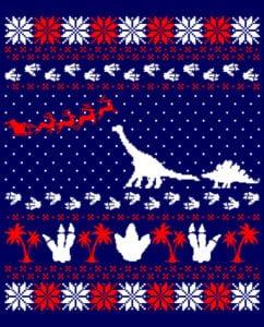 Dinosaur Ugly Christmas Sweater Graphic T-Shirt main vector design