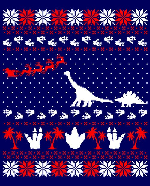 Dinosaur Ugly Christmas Sweater Graphic T-Shirt main vector design