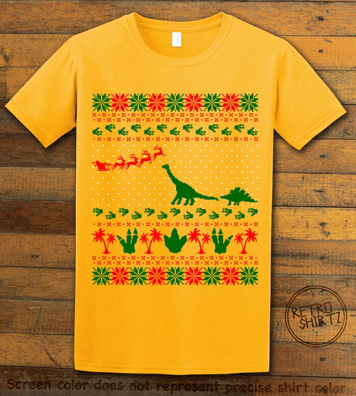 Dinosaur Ugly Christmas Sweater Graphic T-Shirt - yellow shirt design