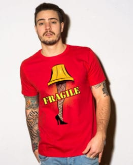 Fragile Graphic T-Shirt - red shirt design on a model