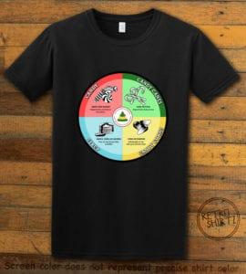 Elf Food Groups Graphic T-Shirt - black shirt design