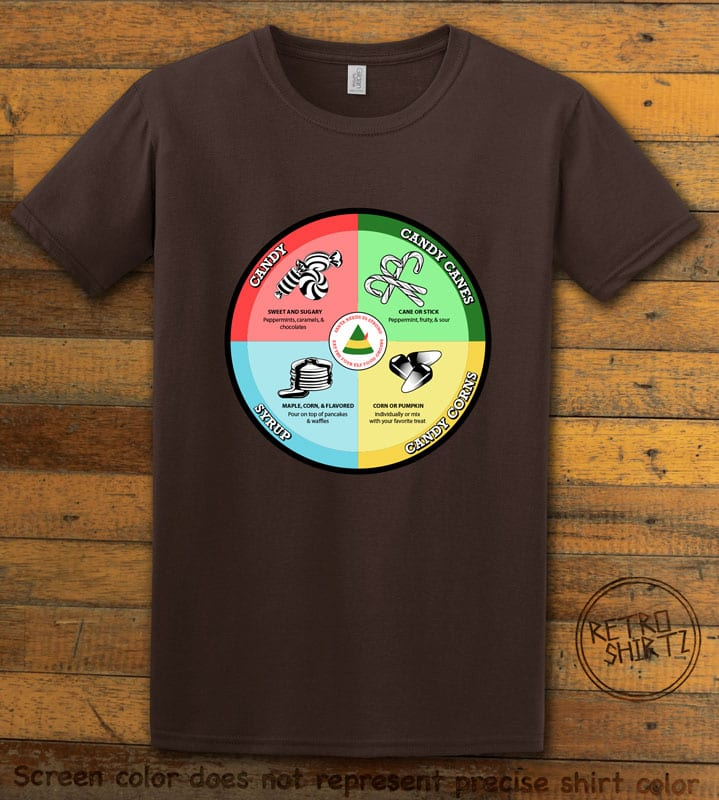 Elf Food Groups Graphic T-Shirt - brown shirt design
