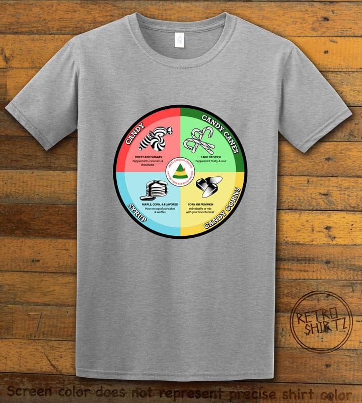 Elf Food Groups Graphic T-Shirt - grey shirt design