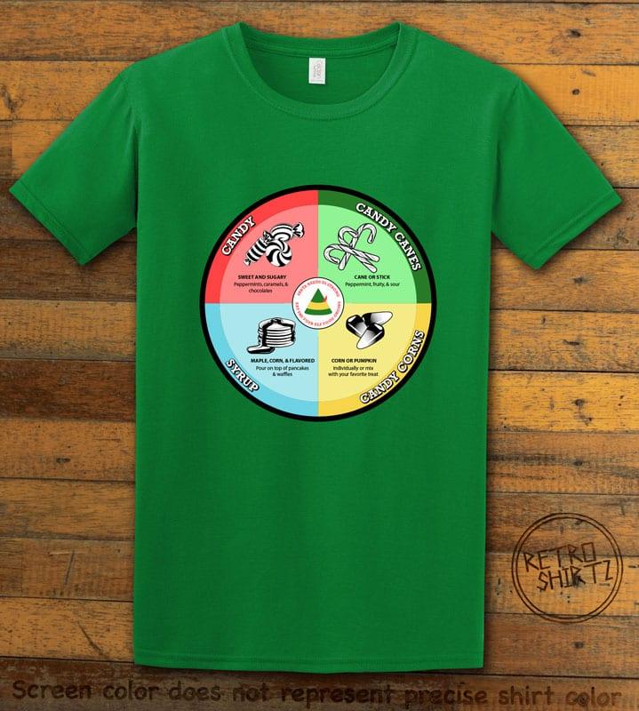 Elf Food Groups Graphic T-Shirt - green shirt design