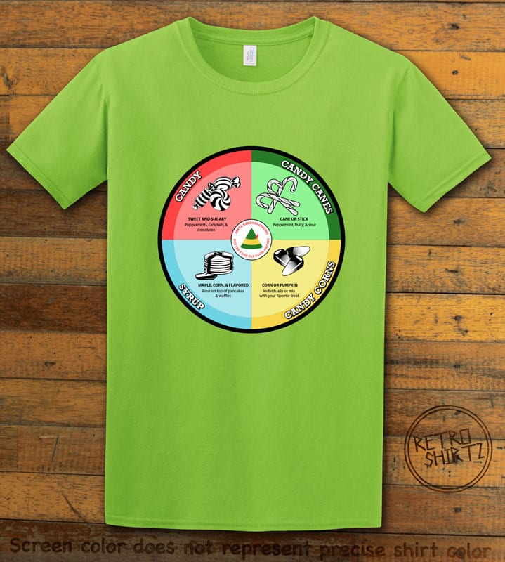 Elf Food Groups Graphic T-Shirt - lime shirt design