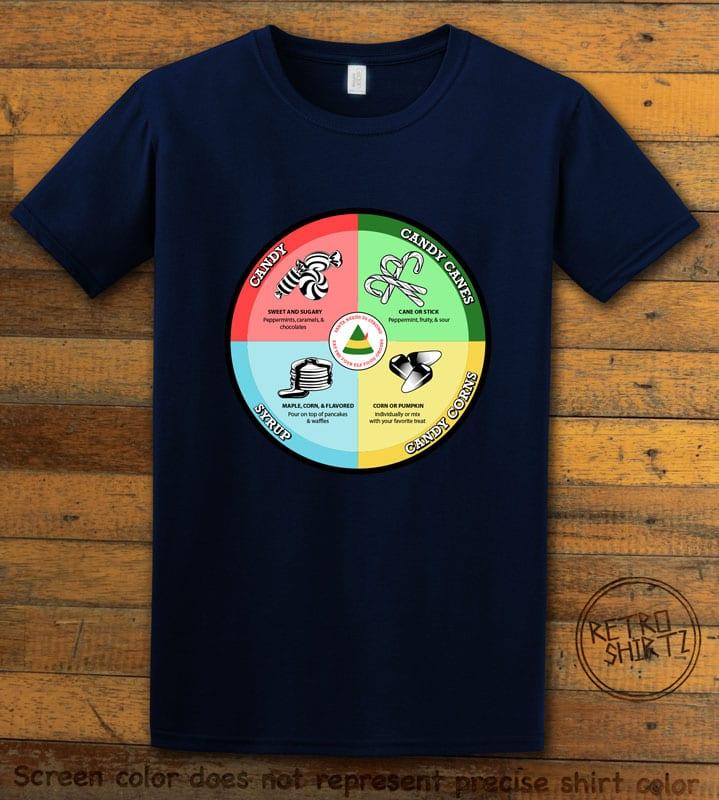 Elf Food Groups Graphic T-Shirt - navy shirt design