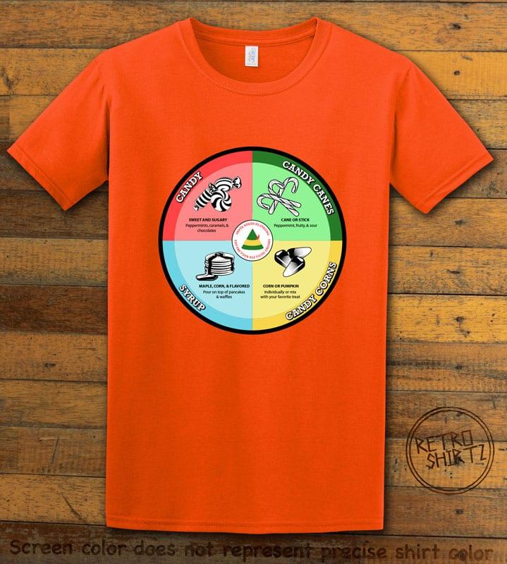 Elf Food Groups Graphic T-Shirt - orange shirt design