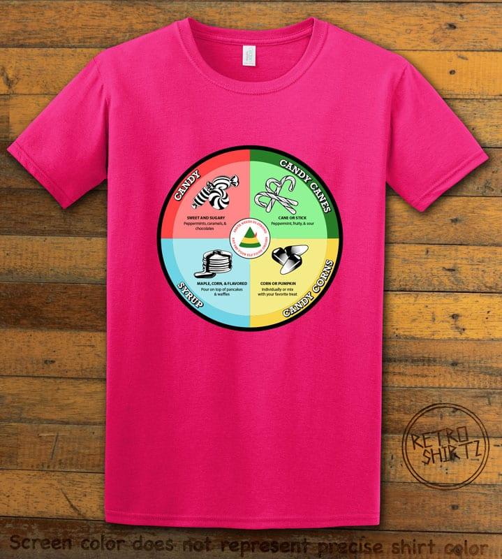 Elf Food Groups Graphic T-Shirt - pink shirt design