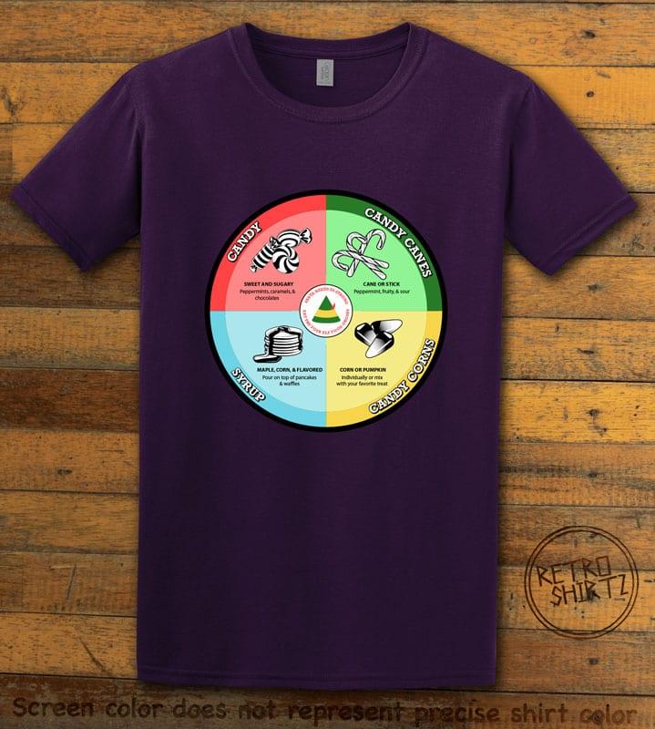 Elf Food Groups Graphic T-Shirt - purple shirt design