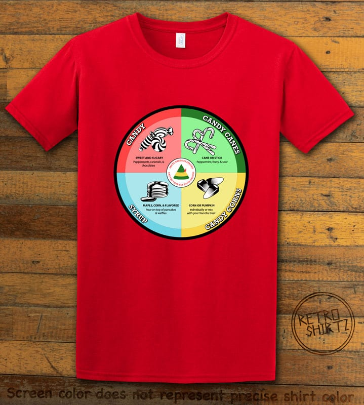 Elf Food Groups Graphic T-Shirt - red shirt design