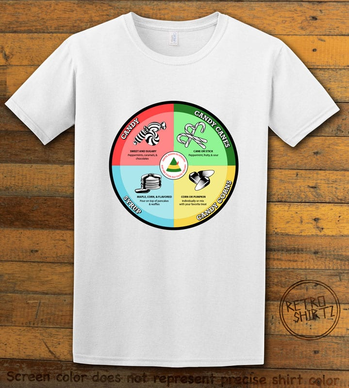 Elf Food Groups Graphic T-Shirt - white shirt design