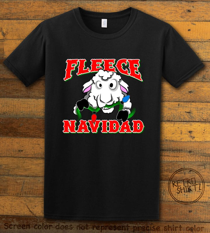 Fleece Navidad Graphic T-Shirt - black shirt design